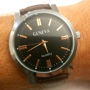 GENEVA Silver & Copper Mens Watch Leather Band